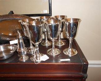 Set of 6 sterling goblets