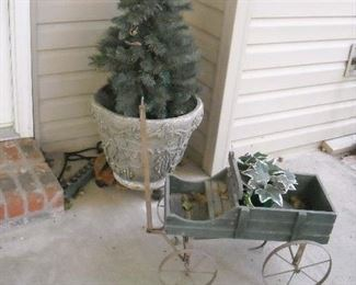 Large assortment of yard art and pots