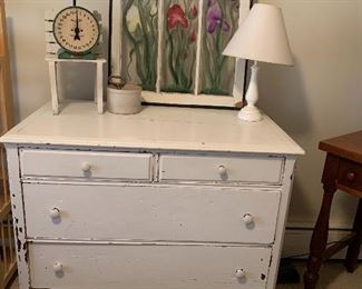 White Painted Dresser, lamp, Painted window
