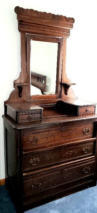 Victorian Eastlake dresser with cheval mirror & hanky drawers