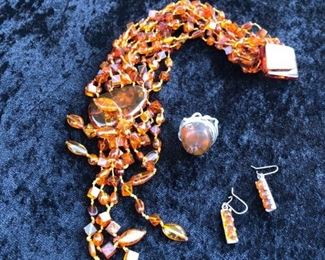 Baltic amber necklace , earings and ring