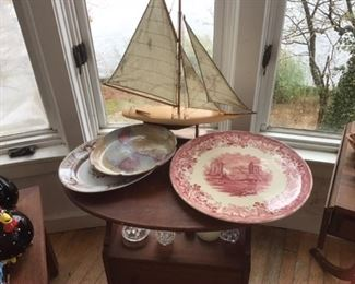 Johnson bro's very large platter, sailboat, small side table