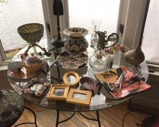 Modern hand blown crackle art bowl,table lamp, fine porcelain, pottery dish etc
