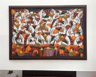 """Haitian original on canvas stretched and framed... 60"""" x 48"""""""