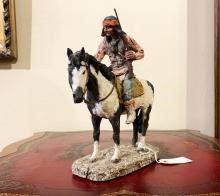 Signed Monfort Western Indian Sculpture Titled APACHE