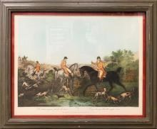 Antique Hand Colored Fox Hunt Engraving by Philibert Louis Debucourt after Carl Vernet, c. 1810