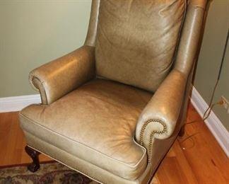 Leather arm chair w/ nailhead detail