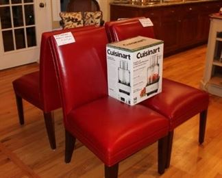 Set of 4 red leather dining chairs, as-is