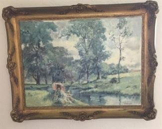 Lady by Stream Oil Painting https://ctbids.com/#!/description/share/273048
