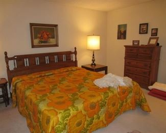 Master bedroom - King size headboard and bedding.