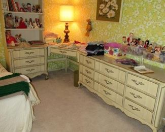 Dresser, desk and hutch - French Provincial style.