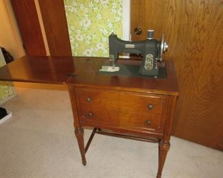 White sewing machine with case
