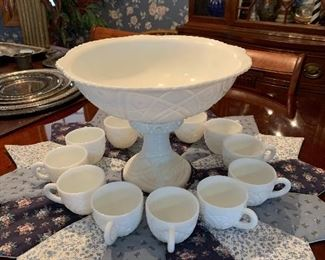 Milk glass punch bowl set, NICE COMPLETE!