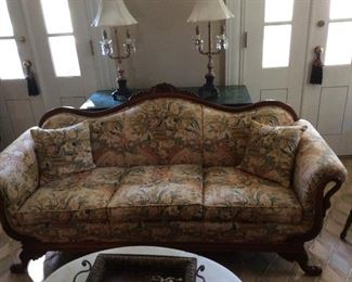 Antique swan arm couch