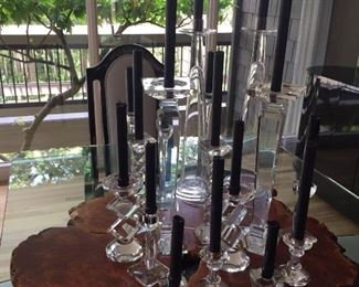assorted crystal candleholders