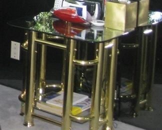 Designer night stand or side table brass