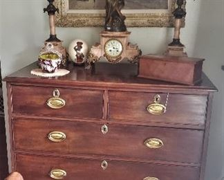 Georgian Chest of Drawers, Burl Table Box, 3 Pc Marble Mantle Clock set