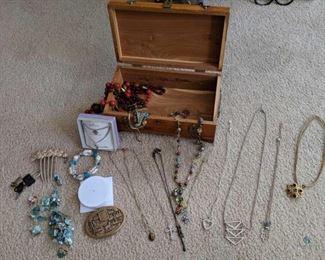 Jewelry and Wood Jewelry Box