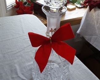 Whiskey, Liquor ornately carved Crystal Decanter with glass stopped - From The Czech Republic