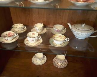 Collectible Bone China Tea Cups. Tea Pot.