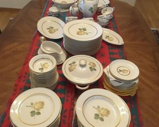 81 Pieces!  Set of China, Thomas, Germany - Pattern has gold rim on middle portion and lovely yellow rose and green leaf in the center of each piece.  Thomas, Germany. Dinner plates, salad plates, soup bowls, dessert places, gravy boat, 3 sizes of serving platters,  open uncovered medium salad bowl, covered lid casserole, teapot, tea cups, tea saucers, creamer and sugar bowl covered lid.