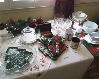 Collectible Christmas Kitchen Households, napkins, napkin holders, platters, glass dishes and mugs, lovely display! Poinsettia Runner.