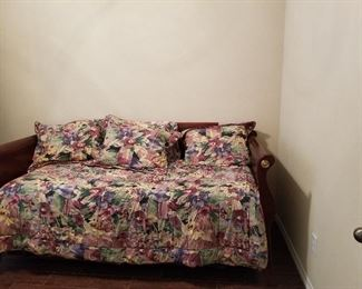 Cherry Trundle Bed with Croscill comforter and sheets