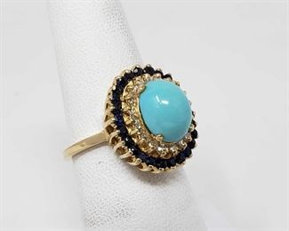 100: 14K Gold Turquoise Diamond Sapphire Ring, 5.13 This Beautiful ring is a Turquoise Diamond Sapphire Ring that weighs approx. 5.13g and the size is approx 7.5 Not marked but tested Metal Type: Yellow Gold Ring Size: 7.5 Gemstones: Turquoise