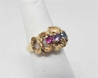 106: 14k Gold Birthstone Ring, 4.2 This Beautiful 14k Gold Birthstone Ring weighs approximately 4.2, and is a size 4 approximately. Metal Type: Yellow Gold Ring Size: 4