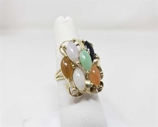 107:14k Gold Rainbow Jade Ring,6.2 This Beautiful 14k Gold Rainbow Jade Ring weighs approximately 6.2g and the size is approximately 6.5. Metal Type: Yellow Gold Ring Size: 6.5