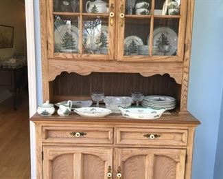 "Country style china cabinet -with set of Spode ""Christmas Tree "" china"