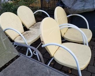 Vintage Metal Double Glider and Two Matching Side Chairs