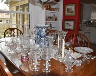 Beautiful Dining Room Table with Chairs Glassware  Vases