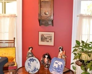 Antique Howard Miller Clock, Asian Dolls, Burled Wood Coffee Table, Antique Chair