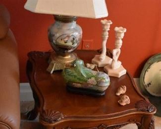 Jade Type Lamp with Asian Scene, Wood Carved End Table, Candle Holders, Asian Tray, Candle Figurines, Covered Dish