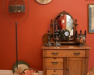Bird Cage, Candle Sticks, Decorator Plate, Commode/Dry Sink, Fans, Clock