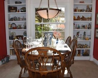 Great Pennsylvania House Dining Table with Windsor Chairs, Vases, Delft Vases, China, Stemware, More