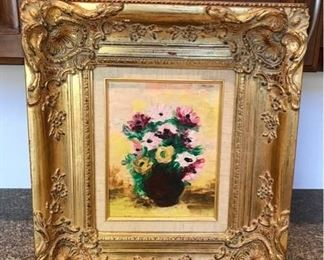 Painting of Flowers in Gilded Gold Coloured Frame