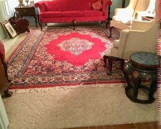 Formal living room with Large beautiful wool rug from Iran