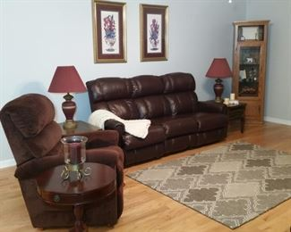 La-z-boy leather sofa with recliners at each end.  Cloth upholstered power lift recliner