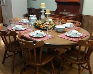 Tell City maple dining table and chairs