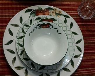 A closer look at a place setting of the Cades Creek stoneware