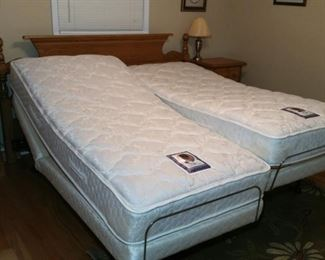 Each side of the Sealy 'Posturematic' bed is fully adjustable and multi-speed vibrating massage