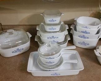 Several pieces of Corningware 'Blue Cornflower'