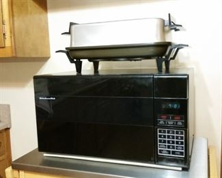 Electric buffet skillet and KitchenAid microwave oven