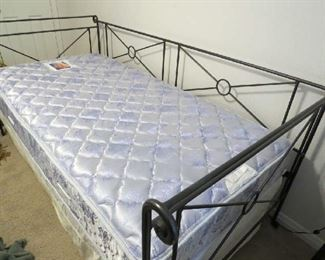 Charles Rogers Wrought Iron Campaign Bed - Solid Iron hand forged w Sealy Twin Mattress - used only as guest daybed