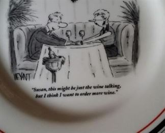 New Yorker cartoon plates, Restoration Hardware, set of 6.