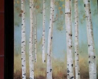 Birches, raised on wood frame, medium sized.