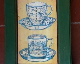 Chinoiserie tea cup key cupboard, wood.