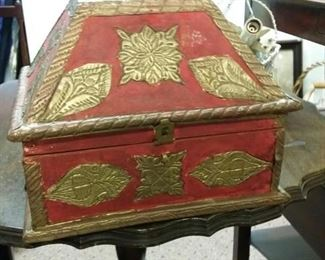 Red and gold decorative box, medium sized.